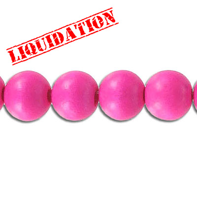 Wood bead, 10mm, round, pink, 8 inch strand