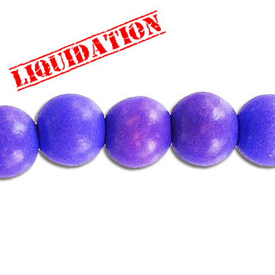 Wood bead, 10mm, round, purple, 8 inch strand