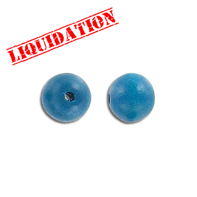 Wood bead, 10mm, round, turquoise, 8 inch strand