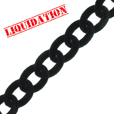 Aluminium curb chain, 16x13mm, with black flocking, 5 meters
