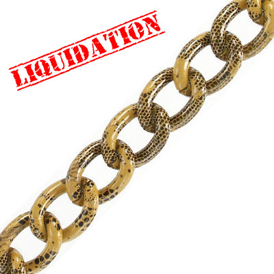 Aluminium curb chain, 16x13mm, tan with black snake skin print, 5 meters