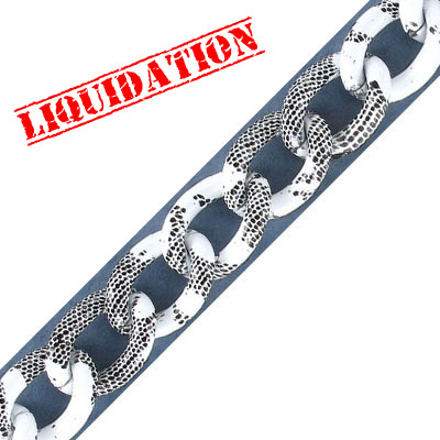 Aluminium curb chain, 16x13mm, white with black snake skin print, 5 meters
