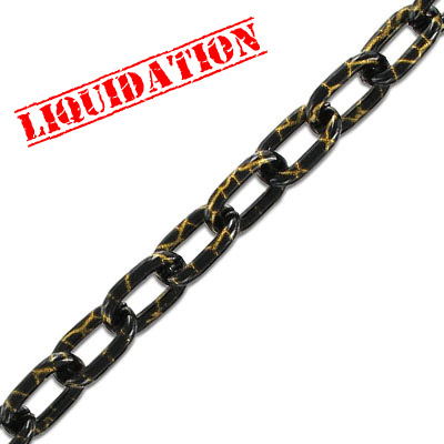 Aluminium chain, 14x8mm, oval link, black marbled gold, 5 meters