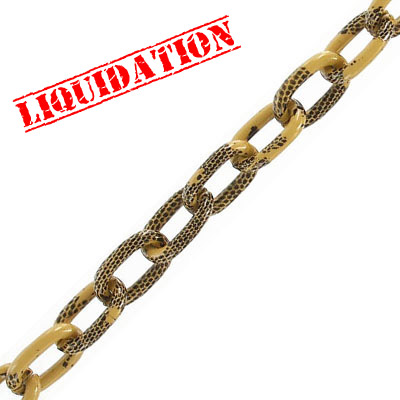 Aluminium chain, 14x8mm, oval link, tan with black snake skin print, 5 meters