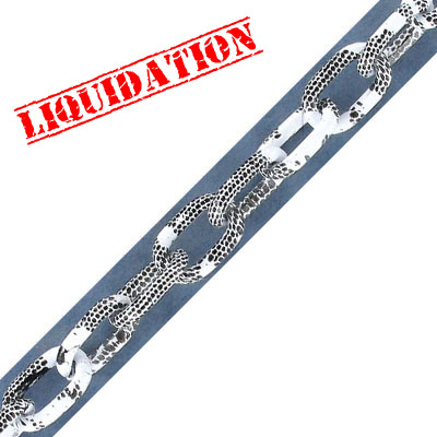Aluminium chain, 14x8mm, oval link, white with black snake skin print, 5 meters