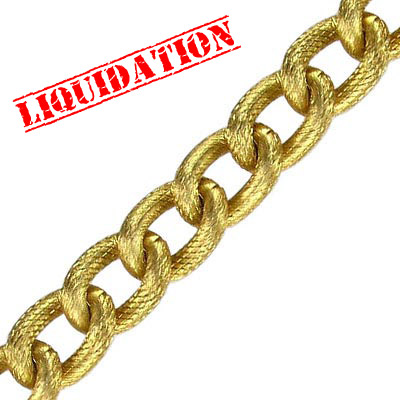 Aluminium chain curb thick fancy link (width 10.5mm) 25 metres matt gold color