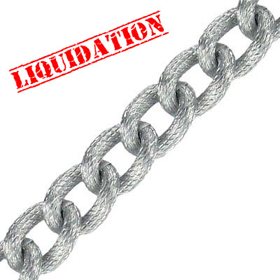 Aluminium chain curb thick fancy link (width 10.5mm) 25 metres matt slver plated