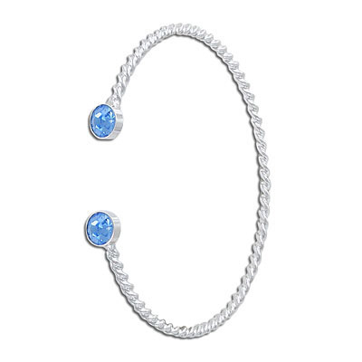 Twisted wire bangle bracelet, with settings for ss29 stones, rhodium plate