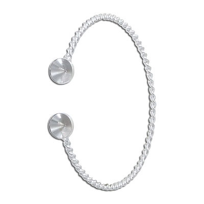 Twisted wire bangle bracelet, with settings for ss39 stones, rhodium plate