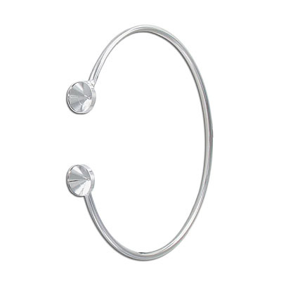 Wire bangle bracelet, with settings for ss39 stones, rhodium plate