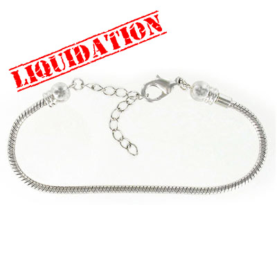 Screw end bracelet with extention chain, 7.5 inch, rhodium imitation