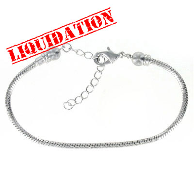 Screw end bracelet with extention chain, 8 inch, rhodium imitation