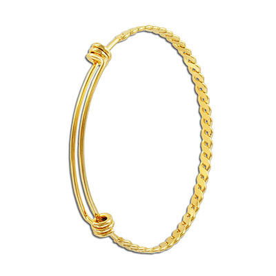 Bracelet, expandable, 60x4mm, 2 loops, stainless steel, 304l, gold vacuum plating
