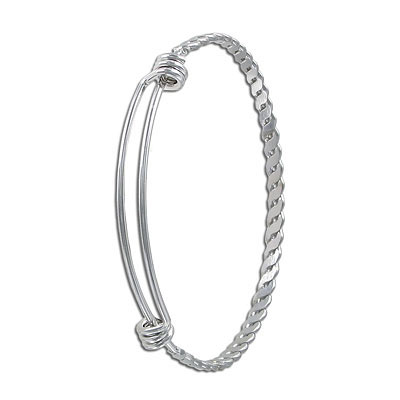 Bracelet, expandable, 60x4mm, 2 loops, stainless steel 304l