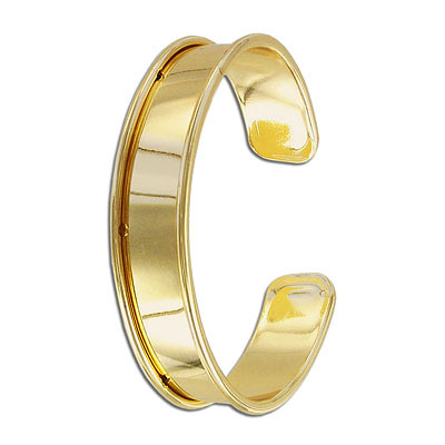 Bracelet base for 10mm cord, 66x14.5mm, brass core, gold plate