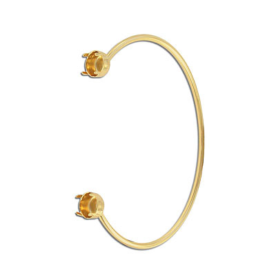 Bracelet, expandable, 64.5mm, with prong settings for ss39/1088, 3-5 mils thick gold plating