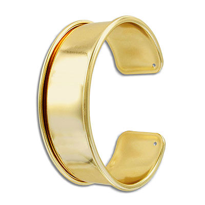 Bracelet base for 20mm flat cord, 66x24mm, brass core, gold plate