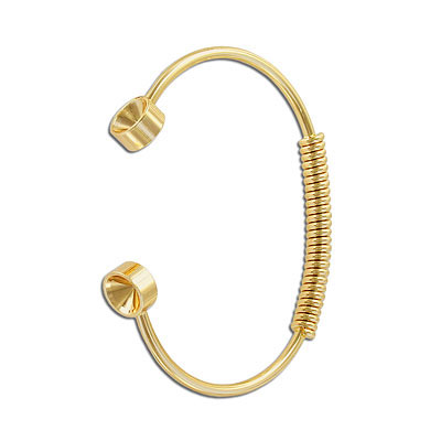 Bracelet, 67mm, with spring and settings for Swarovski crystals ss39/1088, brass core, gold electroplated