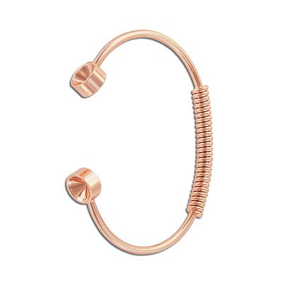 Bracelet, 67mm, with spring and settings for Swarovski crystals ss39/1088, brass core, rose gold electroplated