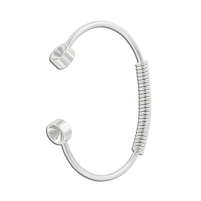 Bracelet, 67mm, with spring and settings for Swarovski crystals ss39/1088, brass core, silver electroplated