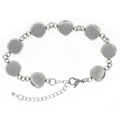 Bracelet with round frames, can be used with Swarovski crystals 2035/10mm, stainless steel, 7 inch with 2 inch extension