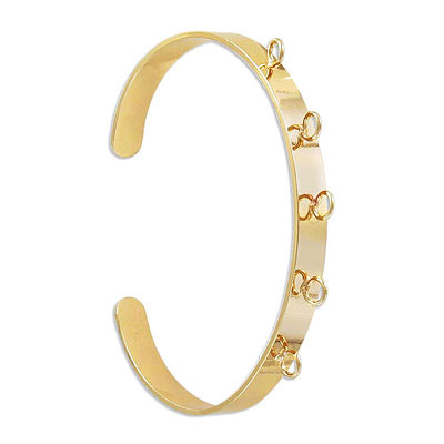 Adjustable bracelet, brass core, 65x54mm, with 5 loops, gold electroplated