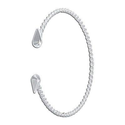 Twisted wire bangle bracelet, with settings for 10x6mm stones, rhodium plate