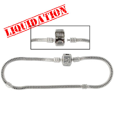 Bracelet, designed for the large hole beads, 22 cm, (8.5 inches), nickel plate