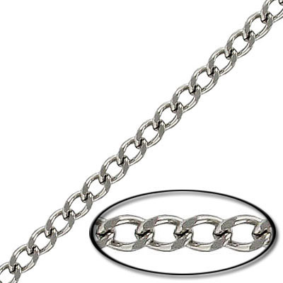 Chain curb cut link, 1mm wire, 3.8x5mm link, 20 metres stainless steel. Grade 304