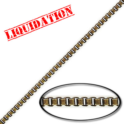 Box chain, 2mm, steel core, antique brass, 10 meters