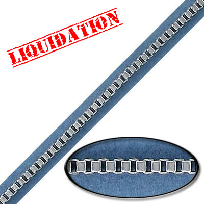 Box chain, 2mm, steel core, rhodium imitation, 10 meters