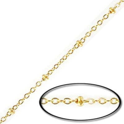 Satellite chain, 2mm link, with 3mm ball, stainless steel, 304l, gold vacuum plating, 5 meters