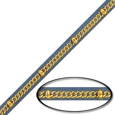 Satellite curb chain, 2.2mm, with 3mm balls, stainless steel, gold vacuum plate, 5 meters