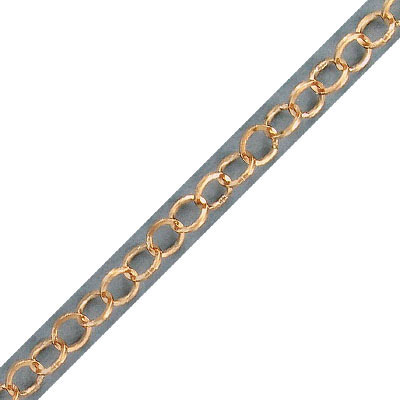 Link chain, 5mm link, soldered, stainless steel, rose gold vacuum plated, 5 meters
