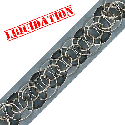 Link chain, 20mm, thick rhodium imitation plating (40-80mils), 1 meter