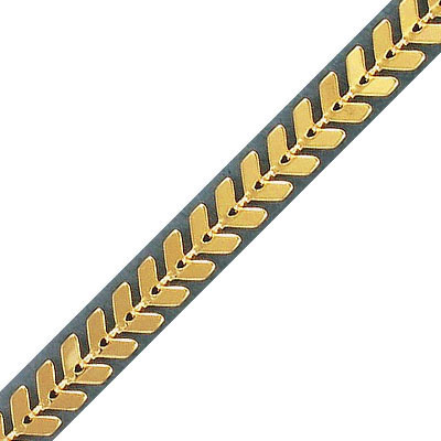 Chevron chain, 2.55x6.25mm link, 0.60mm thickness, brass core, gold color, 5 meters