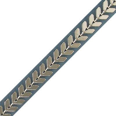 Chevron chain, 2.55x6.25mm link, 0.60mm thickness, brass core, imitation rhodium color, 5 meters
