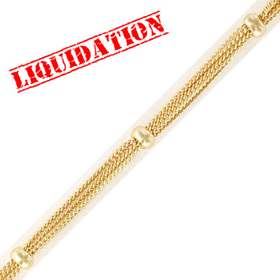 Satellite chain, 6-strand, 1.30mm width 0.75mm thick per strand, with 5mm beads, gold color, 5 metres