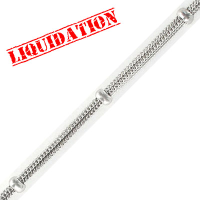 Satellite chain, 6-strand, 1.30mm width 0.75mm thick per strand, with 5mm beads, rhodium imitation, 5 metres