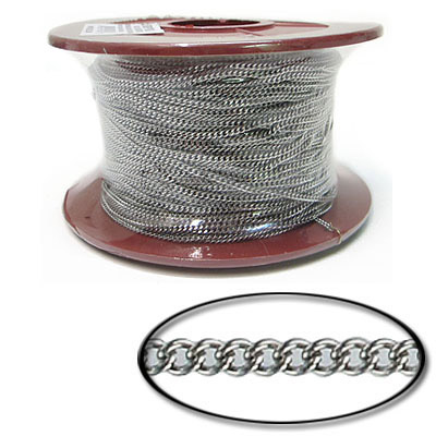 Flat curb chain, 2.25x2.7mm link, 0.6mm wire, stainless steel, 304l grade, 100 metres