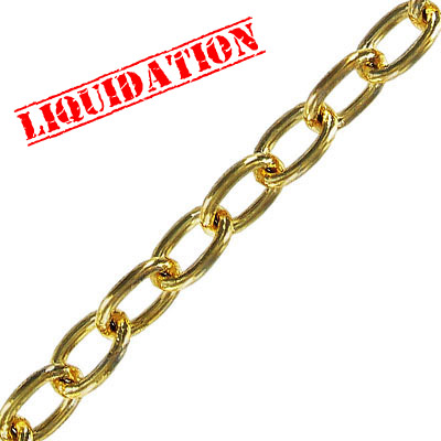 Chain cable link (10x6.5mm) 5 metres gold plate