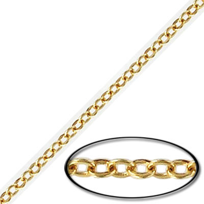 Soldered chain cable link (2mm wide) 30 metres gold plate