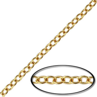 Soldered chain cable flattened link (2mm wide) 20 metres gold plate