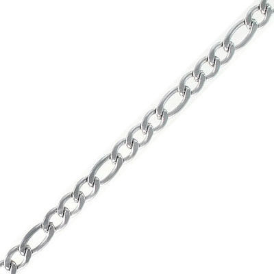 Figaro chain, large links 11x5.30mm, small links 8x5.30mm, thickness 1.40mm, stainless steel, 5 meters