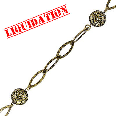 Link chain, 18mm antique brass ball, 3 meters