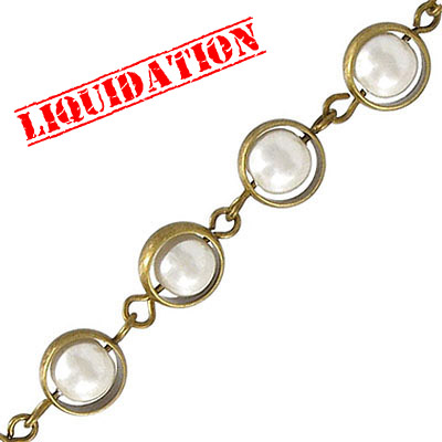 Chain with 7mm plastic pearl link (10mm wide) 3 metres antique brass plate nickel free