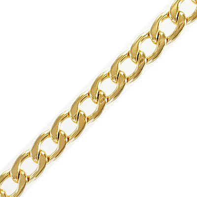Chain, stainless steel, curb link, 2mm, 7.9x11.4mm link, gold vacuum plated, 304l, 3 meters