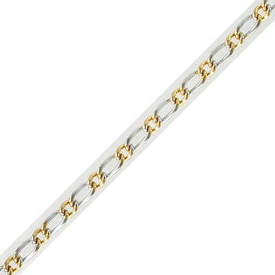 Chain, curb link, 0.8mm wire,3x4mm and 3x6.5mm links, rhodium imitation and gold vacuum plating, stainless steel, 5 mete