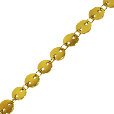 Disk chain, 6mm disk diameter, stainless steel, gold plate, 3 metres