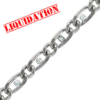 Chain with Swarovski stones, rhodium imitation, 3 meters